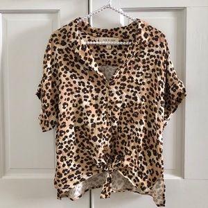 NEW Cloth & Stone Leopard Button Shirt Medium